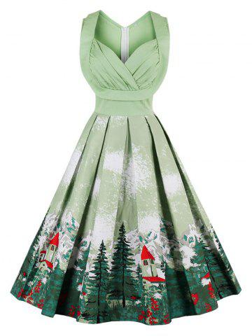 Discount Christmas Vintage Forest Print Ruched Pin Up Dress