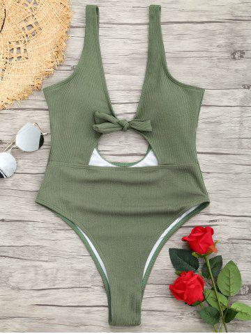 Online One Piece Ribbed Knot Backless Swimsuit