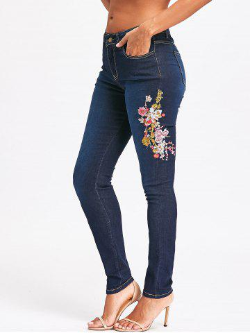 Chic Dark Wash Floral Embroidered Skinny Jeans