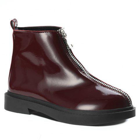 Patent Leather Front Zipper Ankle Boots