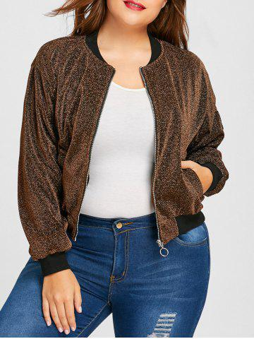 Discount Plus Size Lurex Zipper Drop Shoulder Jacket