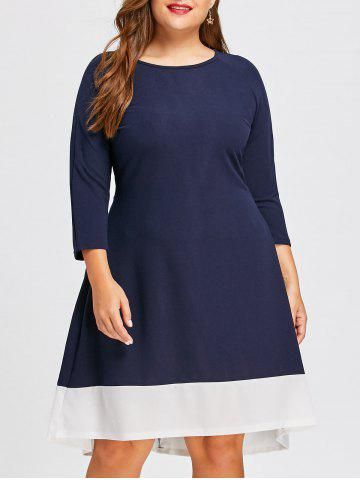 Buy Contrast Plus Size  High Low Long Sleeve Dress