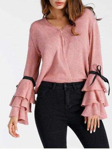 Best V Neck Layered Bell Sleeve Sweater