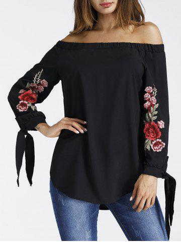 Off The Shoulder Embroidered Tunic Blouse