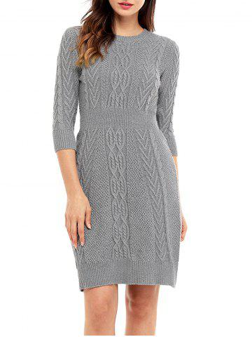 Sale Cable Knitted Crew Neck Mini Dress