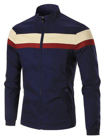 Zip Up Wide Stripe Color Block Jacket