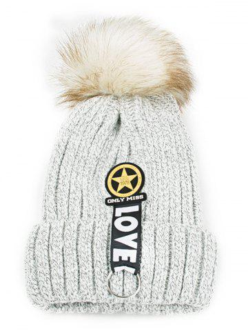 Hot Letter and Star Decorated Flanging Knitted Pom Beanie