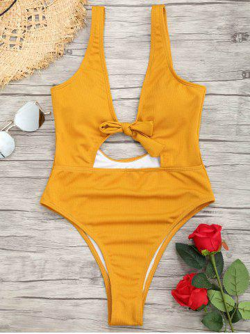 Hot One Piece Ribbed Knot Backless Swimsuit