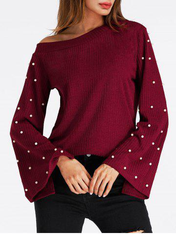 Fashion Bell Sleeve Skew Neck Beaded Ribbed Sweater