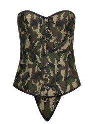 Lace Up Steel Boned Camouflage Corset Top -