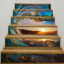 Tornado Seascape Patterned 3D Stairway Stickers -