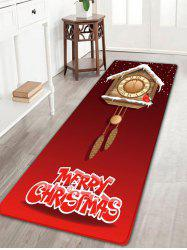 Christmas Wood Clock Pattern Skidproof Flannel Bath Rug -