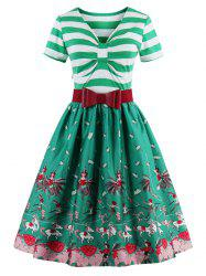 Vintage Bowknot Striped Printed Pin Up Christmas Dress -