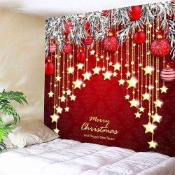 Red W79 Inch * L59 Inch Wall Decor Christmas Ball And Star Print ...