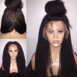 Long Free Part Fluffy Yaki Straight Lace Front Synthetic Wig -