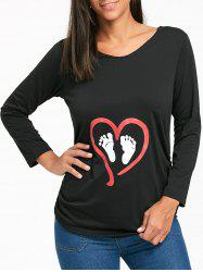 Long Sleeve Footprint and Heart Print Top -