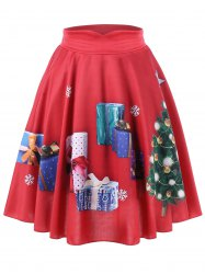 Plus Size Christmas Tree and Gift Print Flared Skirt -