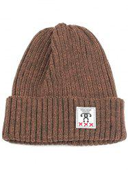Outdoor Label Embellished Flanging Knit Beanie -
