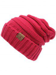 Outdoor CC Label Decorated Flanging Knitted Beanie -