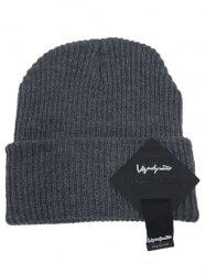 Outdoor Square Letter Label Decorated Flanging Knitted Beanie -