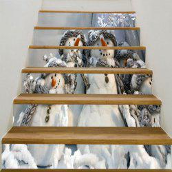 Decorative Christmas Snowman Family Printed Stair Stickers -
