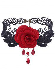 Gothic Knitted Leaf Flower Choker Necklace -