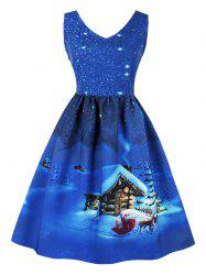 Vintage Cottage Snowflake Print Christmas Dress -