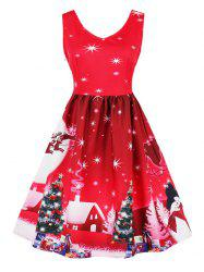 Vintage Snowflake Tree Print Christmas Pin Up Dress -