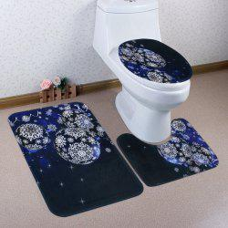 Christmas Snowflake Baubles Pattern 3 Pcs Bath Mat Toilet Mat -