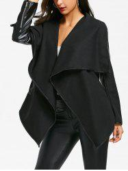 Faux Leather Trim Turndown Collar Irregular Jacket -