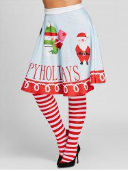 Santa Claus Print High Waisted Plus Size Skirt -