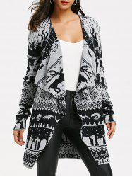 Christmas Elk Knit Tunic Draped Cardigan -