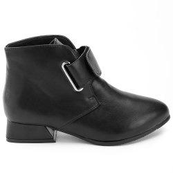 Pointed Toe Hook and Loop Ankle Boots -