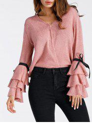 V Neck Layered Bell Sleeve Sweater -