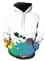 3D Colorful Paint Splatter Print Pullover Hoodie -