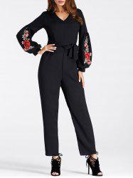 Puff Sleeve Embroidered Jumpsuit -