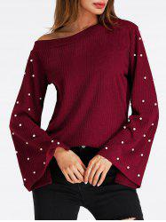 Bell Sleeve Skew Neck Beaded Ribbed Sweater -