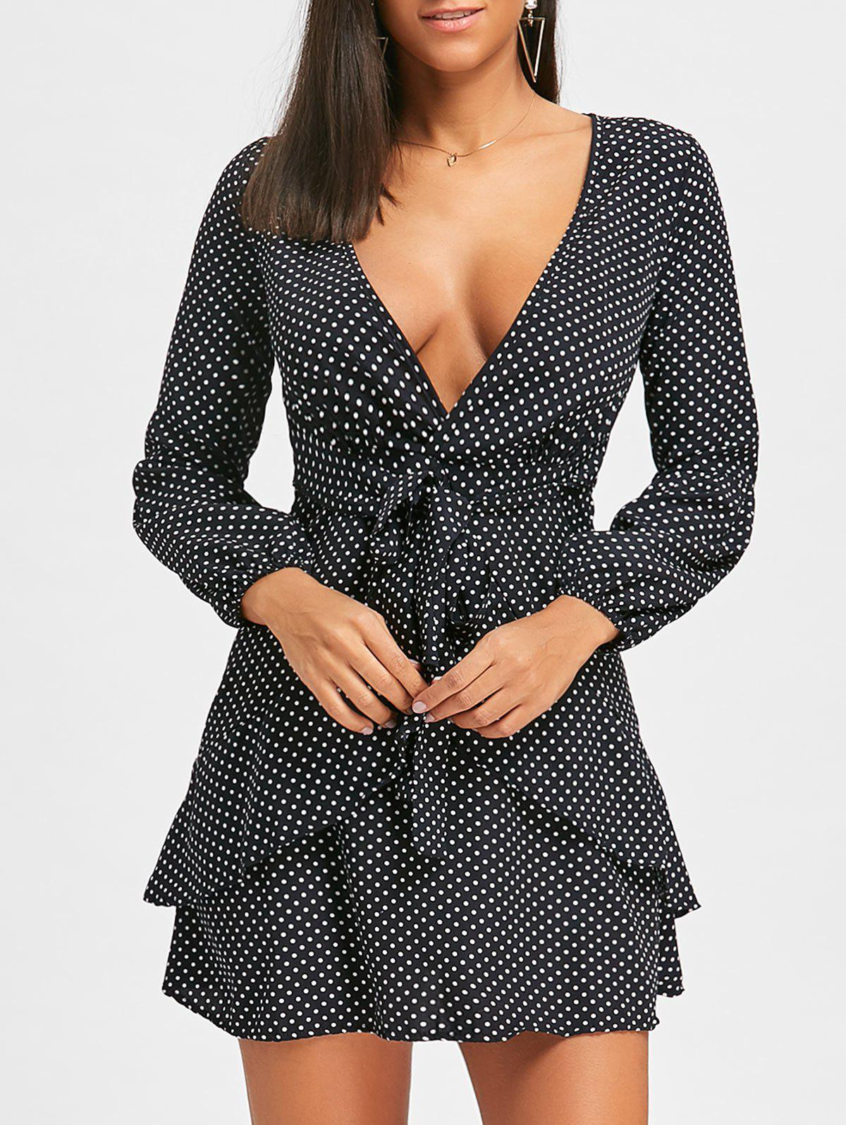 Puff Sleeve Low Cut Polka Dot Mini DressWOMEN<br><br>Size: M; Color: BLACK; Style: Casual; Material: Polyester; Silhouette: A-Line; Dresses Length: Mini; Neckline: Plunging Neck; Sleeve Type: Puff Sleeve; Sleeve Length: Long Sleeves; Pattern Type: Polka Dot; With Belt: No; Season: Fall,Spring; Weight: 0.2500kg; Package Contents: 1 x Dress;