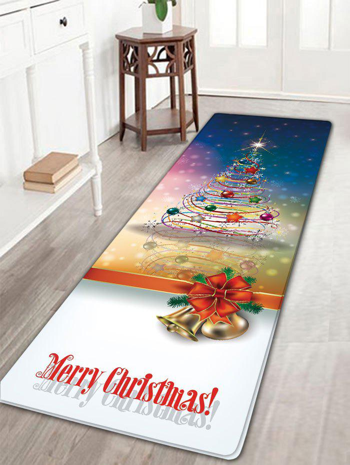 Ribbon Christmas Tree Print Flannel Nonslip Bath MatHOME<br><br>Size: W16 INCH * L47 INCH; Color: COLORMIX; Products Type: Bath rugs; Materials: Flannel; Pattern: Christmas Tree,Letter; Style: Festival; Shape: Rectangular; Package Contents: 1 x Rug;