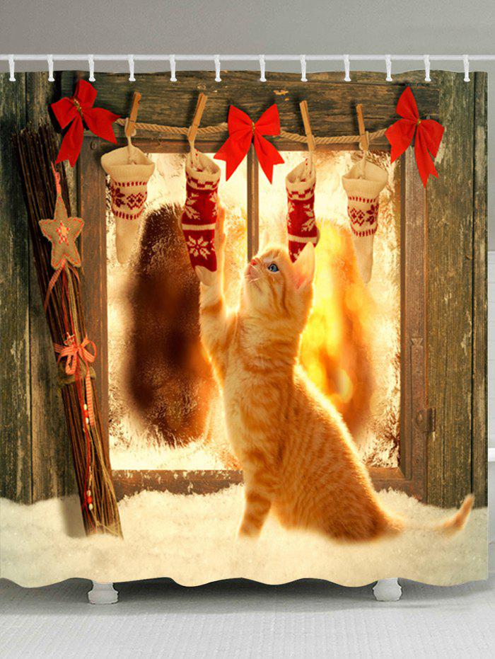 Christmas Socks Cat Print Waterproof Bathroom Shower CurtainHOME<br><br>Size: W71 INCH * L79 INCH; Color: COLORMIX; Products Type: Shower Curtains; Materials: Polyester; Pattern: Animal; Style: Festival; Number of Hook Holes: W59 inch*L71 inch: 10; W71 inch*L71 inch: 12; W71 inch*L79 inch: 12; Package Contents: 1 x Shower Curtain 1 x Hooks (Set);