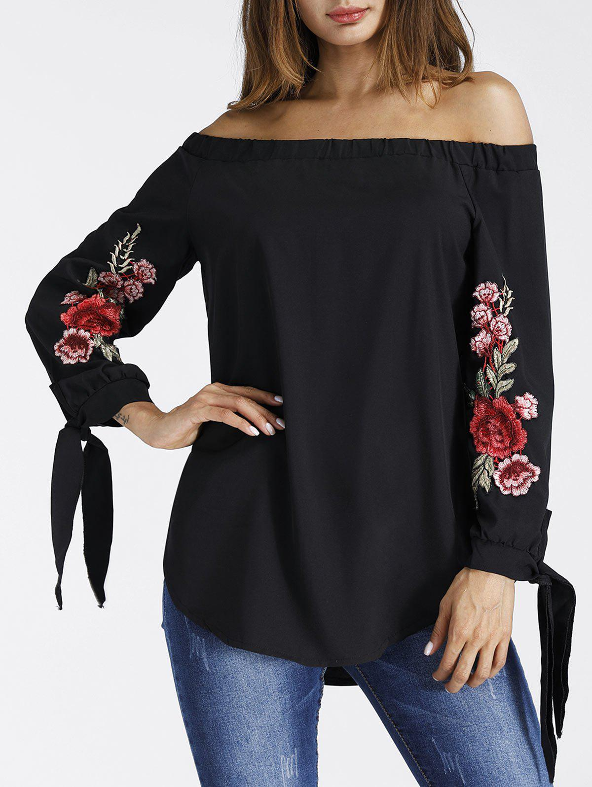 Floral Embroidered Off The Shoulder BlouseWOMEN<br><br>Size: M; Color: BLACK; Style: Fashion; Material: Polyester; Shirt Length: Regular; Sleeve Length: Full; Collar: Off The Shoulder; Pattern Type: Floral; Embellishment: Embroidery; Season: Fall,Spring; Weight: 0.2500kg; Package Contents: 1 x Blouse;