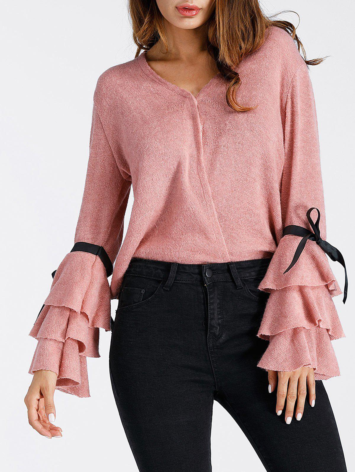 V Neck Layered Bell Sleeve SweaterWOMEN<br><br>Size: XL; Color: PINK; Type: Pullovers; Material: Acrylic,Polyester; Sleeve Length: Full; Collar: V-Neck; Style: Fashion; Pattern Type: Solid; Season: Fall,Spring; Weight: 0.2700kg; Package Contents: 1 x Sweater;