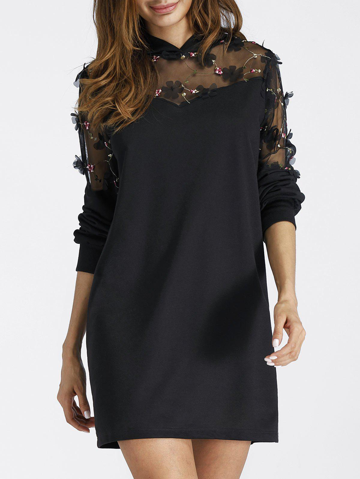 Embroidered Sheer Lace Insert Mini Hoodie DressWOMEN<br><br>Size: XL; Color: BLACK; Style: Casual; Material: Polyester; Silhouette: Shift; Dresses Length: Mini; Neckline: Hooded; Sleeve Length: Long Sleeves; Pattern Type: Patchwork; With Belt: No; Season: Fall,Spring; Weight: 0.3500kg; Package Contents: 1 x Dress; Occasion: Casual;