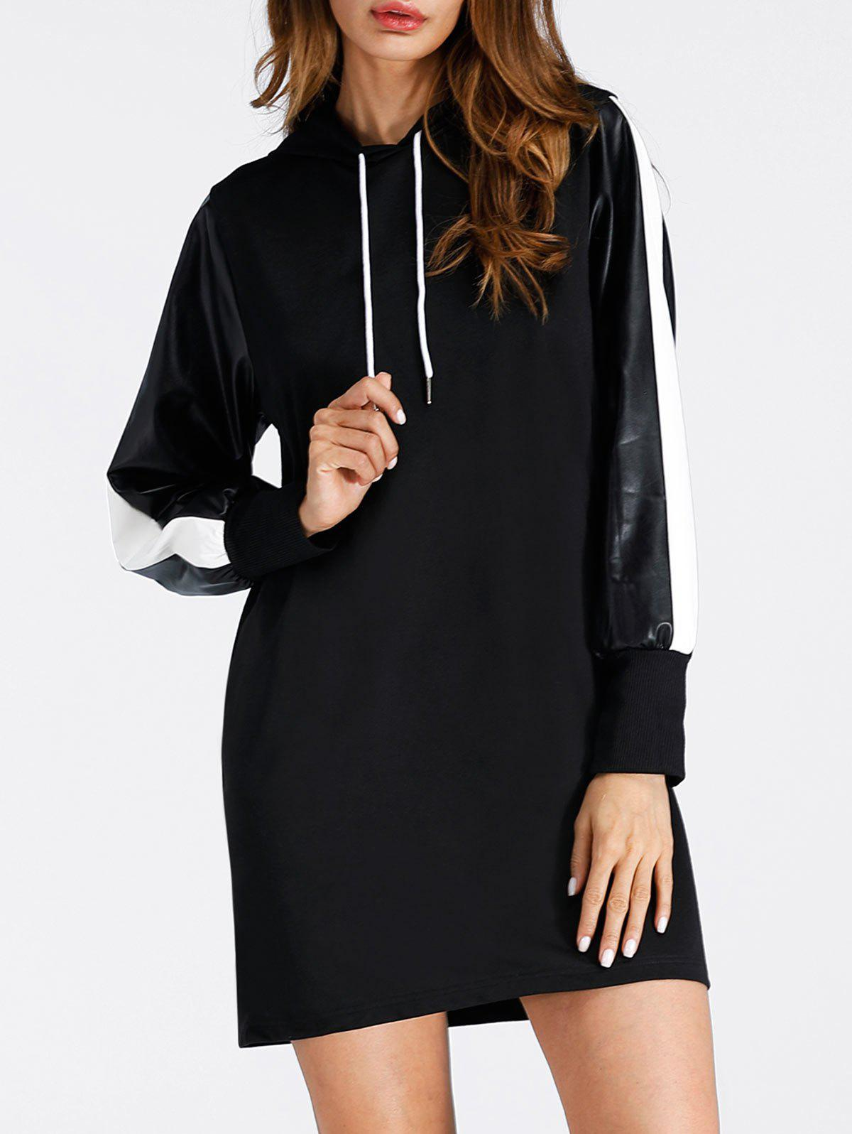 Faux Leather Insert Drawstring Mini Hoodie DressWOMEN<br><br>Size: S; Color: BLACK; Style: Casual; Material: Cotton,Polyester; Silhouette: Shift; Dresses Length: Mini; Neckline: Hooded; Sleeve Length: Long Sleeves; Pattern Type: Patchwork; With Belt: No; Season: Fall,Spring; Weight: 0.4000kg; Package Contents: 1 x Dress;