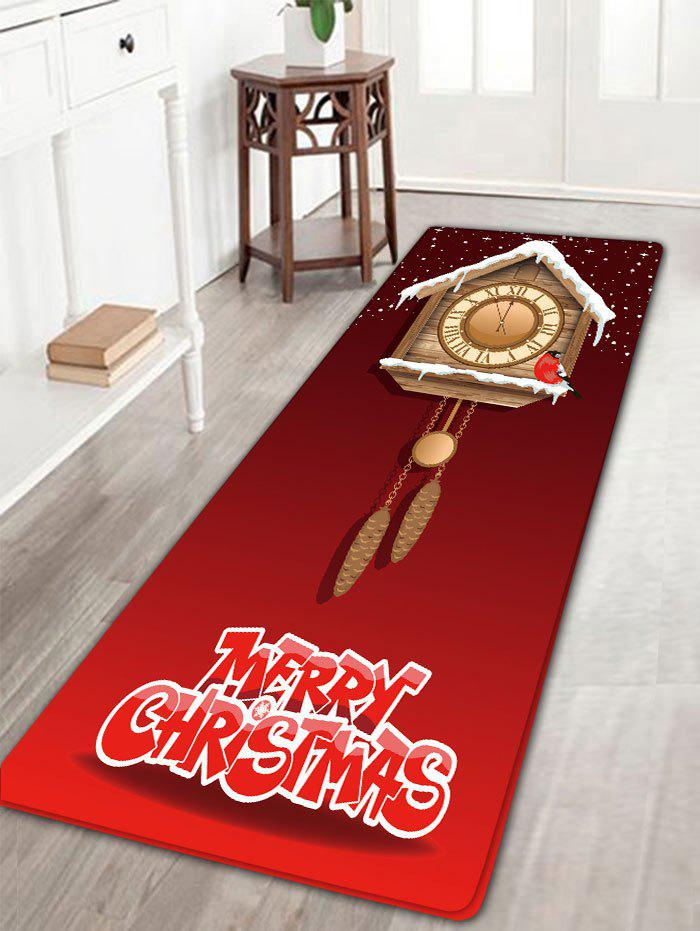 Sale Christmas Wood Clock Pattern Skidproof Flannel Bath Rug