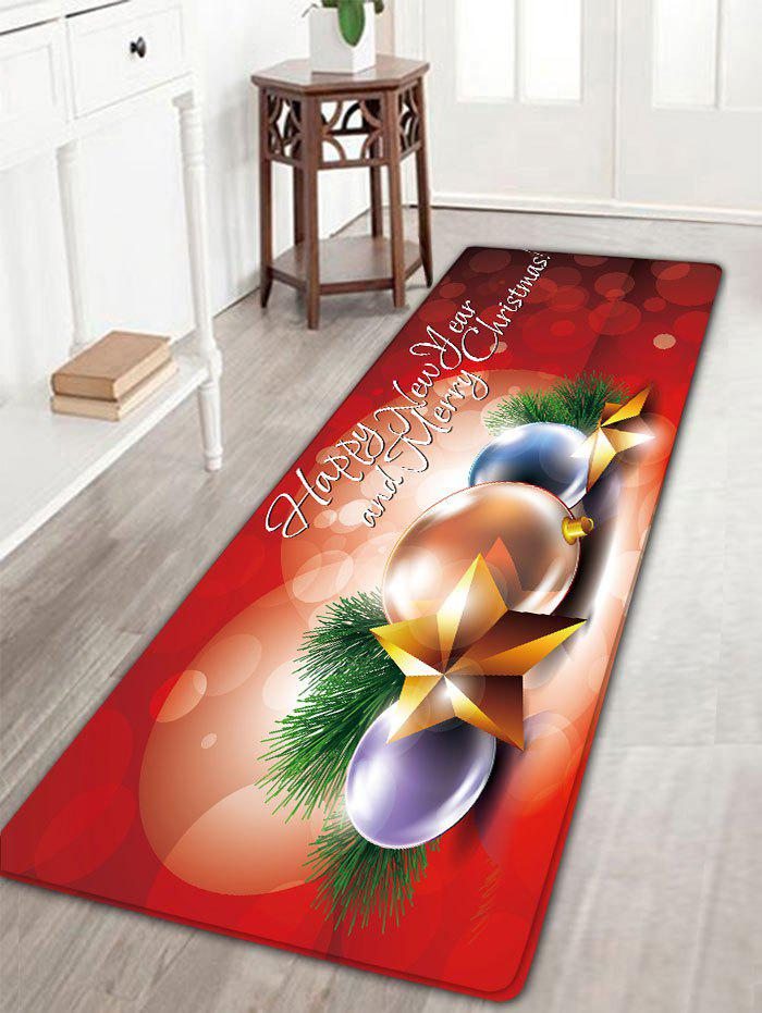 Christmas Balls Star Print Flannel Nonslip Bath RugHOME<br><br>Size: W16 INCH * L47 INCH; Color: RED; Products Type: Bath rugs; Materials: Flannel; Pattern: Ball,Star; Style: Festival; Shape: Rectangular; Package Contents: 1 x Rug;