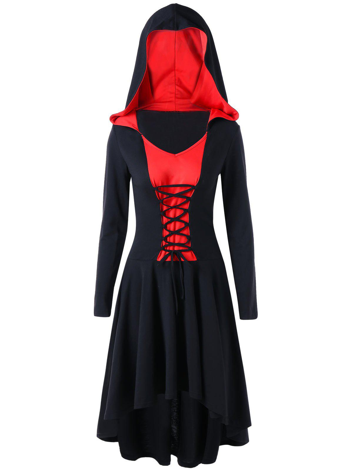Lace Up Two Tone Hooded DressWOMEN<br><br>Size: 2XL; Color: RED; Style: Gothic; Material: Polyester,Spandex; Silhouette: A-Line; Dresses Length: Mid-Calf; Neckline: Hooded; Sleeve Length: Long Sleeves; Pattern Type: Solid; With Belt: No; Season: Fall,Spring; Weight: 0.5400kg; Package Contents: 1 x Dress;