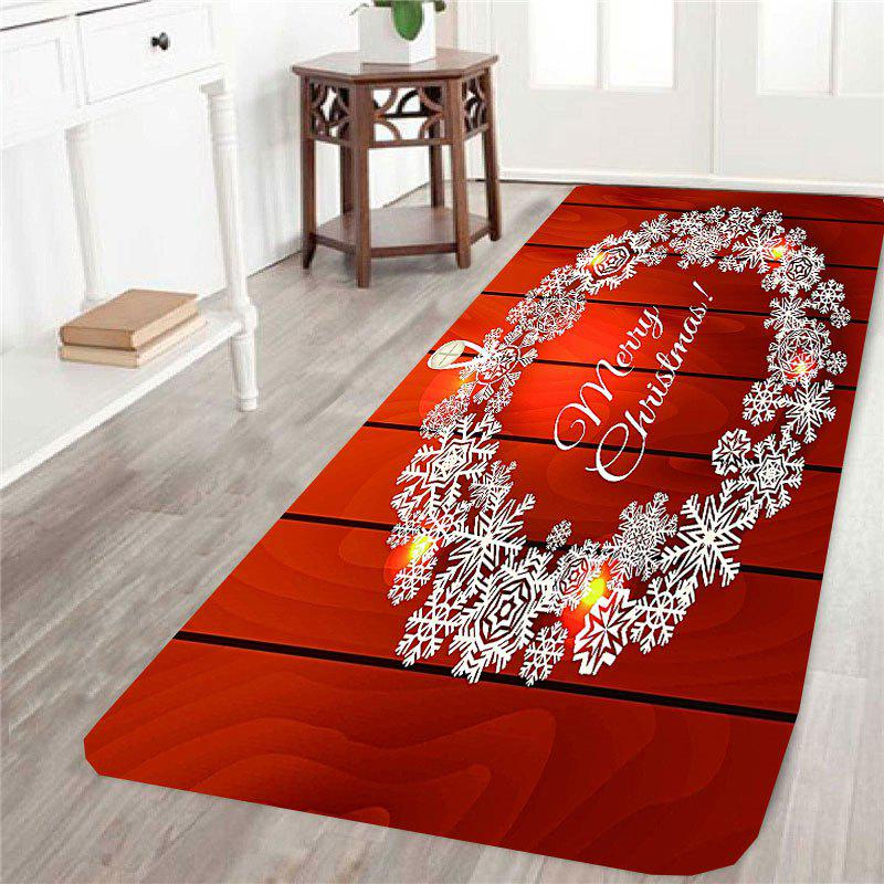Christmas Snowflake Wreath Pattern Skid Resistant RugHOME<br><br>Size: W16 INCH * L47 INCH; Color: RED; Products Type: Bath rugs; Materials: Coral FLeece; Pattern: Snowflake; Style: Festival; Shape: Rectangle; Package Contents: 1 x Rug;