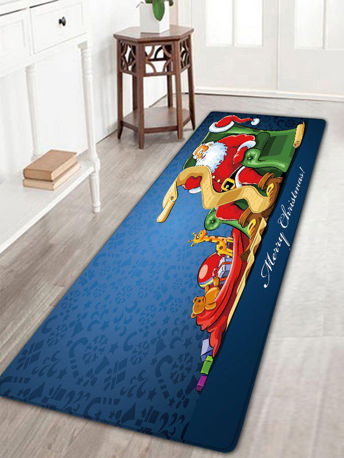 Santa Claus Printed Christmas Flannel Nonslip Bath MatHOME<br><br>Size: W16 INCH * L47 INCH; Color: BLUE; Products Type: Bath rugs; Materials: Flannel; Pattern: Animal,Gift,Letter,Santa Claus; Style: Festival; Shape: Rectangular; Package Contents: 1 x Rug;