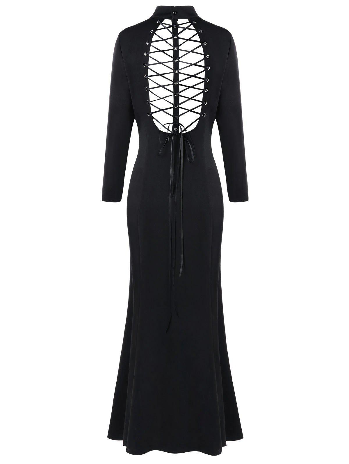 Buy Plus Size Zipper Criss Cross Cutout Long Sleeve Dress